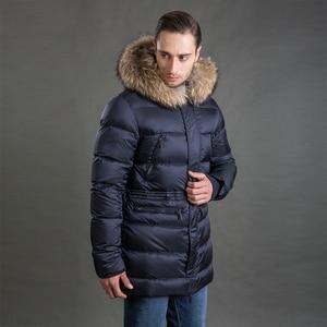 Image 5 - Hermzi 2020 男性の冬のジャケットコートパーカー厚みの取り外し可能な毛皮の襟ヨーロッパサイズブルー 4XL 送料無料