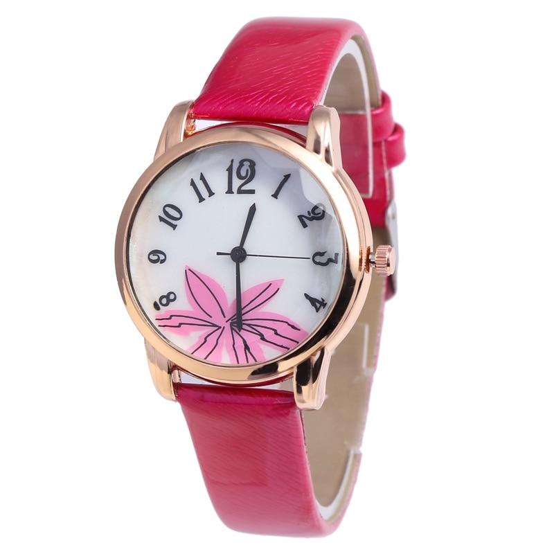 Hot Sale Fashion Casual Watches Women Leather Belt Simple Digital Scale Big Red Flower Quartz Watch Lady Clock Montre Femme