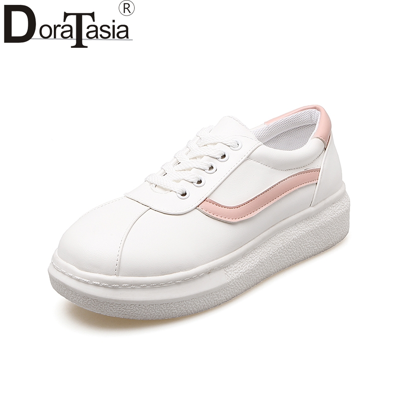 ad4dd9d3074 DoraTasia 2018 Fashion New Brand Spring Summer Women Shoes Woman Large Size  34-43 Lace Up Flat Platform Pink Black Woman Shoes