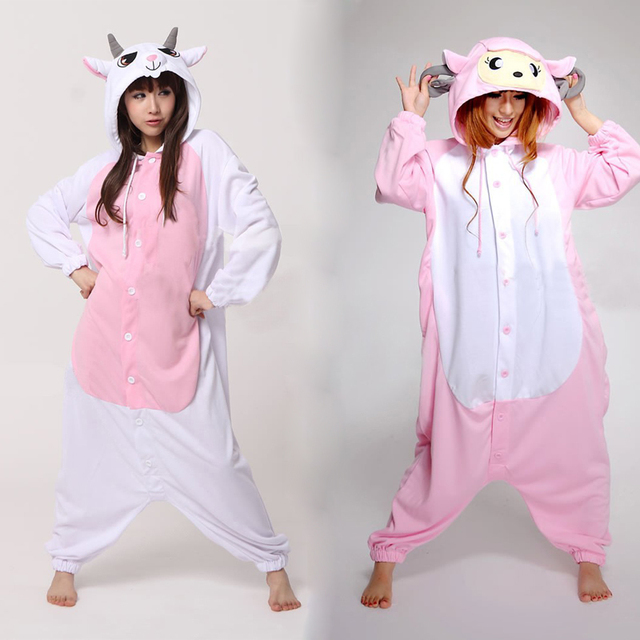Free Shipping Goat Sheep Animal Pajamas Onesies Cosplay Costume Adult One  Piece Pyjamas for Women Men Kids NEW Design 47a0554cf