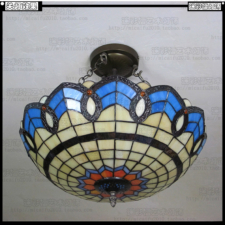 Tiffany Baroque Stained Glass Suspended Luminaire E27 110 240v Chain Pendant Lights For Home Parlor Dining Bed Room40cm - 2