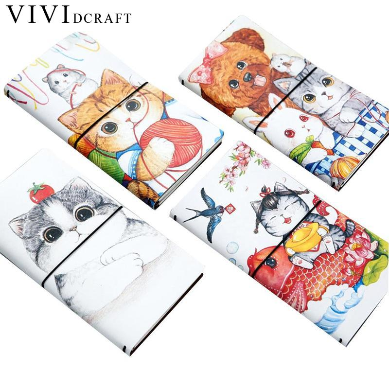 Vividcraft Cartoon Cat PU Leather Cover Planner Notebook Diary Book Exercise Composition Binding Note Notepad Gift Stationery a5 pu leather cover planner notebook fresh pink strawberry diary book exercise composition binding note notepad gift stationery