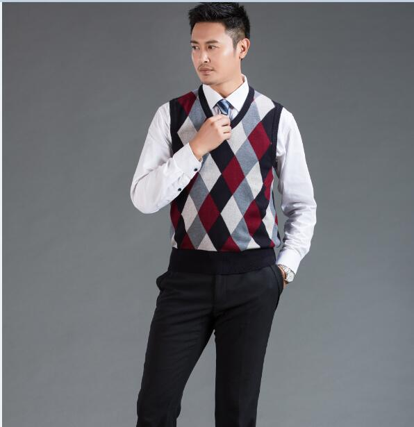 High quality mens fashion argyle intarsia sweater vest male casual ...