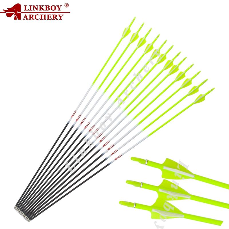 Linkboy Archery 12pcs Pure Carbon Arrow ID4 2mm Sp600 800 1 75inch Arrow Vanes and 80gr
