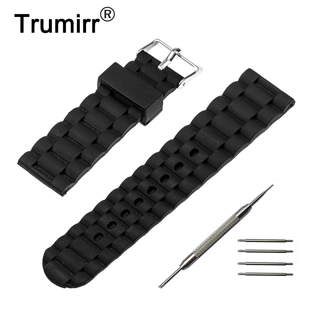 24mm Silicone Rubber Watchband 3 Pointer for Sony Smartwatch 2 SW2 Watch Band Resin Strap Stainless Steel Buckle Bracelet + Tool