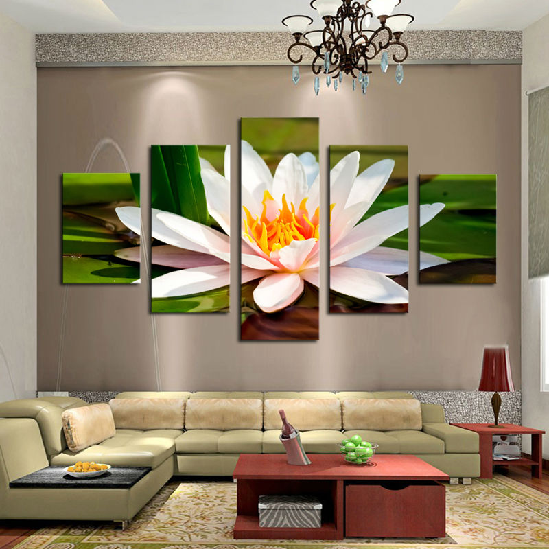 Wholesale 5 Panel Large Hd Printed Canvas Print Poster Painting Whither Lotus Home Decor Wall