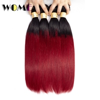 Wome Ombre Hair Bundles Malaysian T1B/Burgundy Straight Human Hair 4 Bundles 1b red Hair Extensions Double Weft Hair Weave