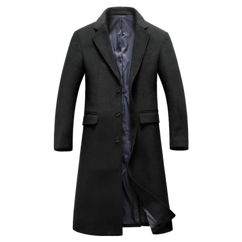 新メンズウールロングコート冬のブランドファッション高品質プラスサイズウールパーカーコートの男性のオーバーコート Casaco masculino BF1810