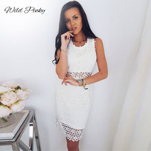 WildPinky Sexy Hollow Out Lace Dresses Summer Women Fashion Solid White Up O-neck Sweet Party Bodycon Dress Female Vestidos