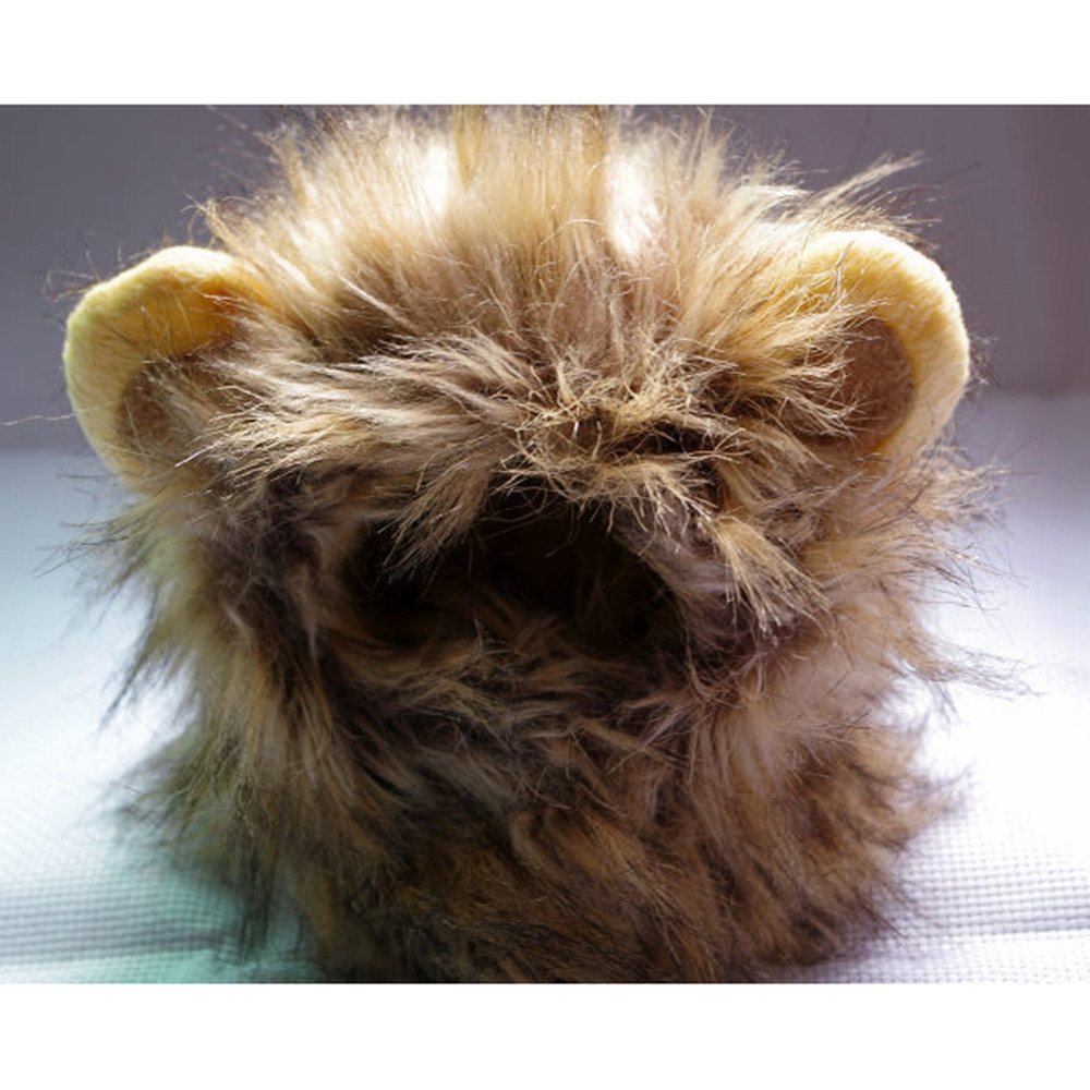 Funny Cute Pet Costume Cosplay Lion Mane Wig Cap