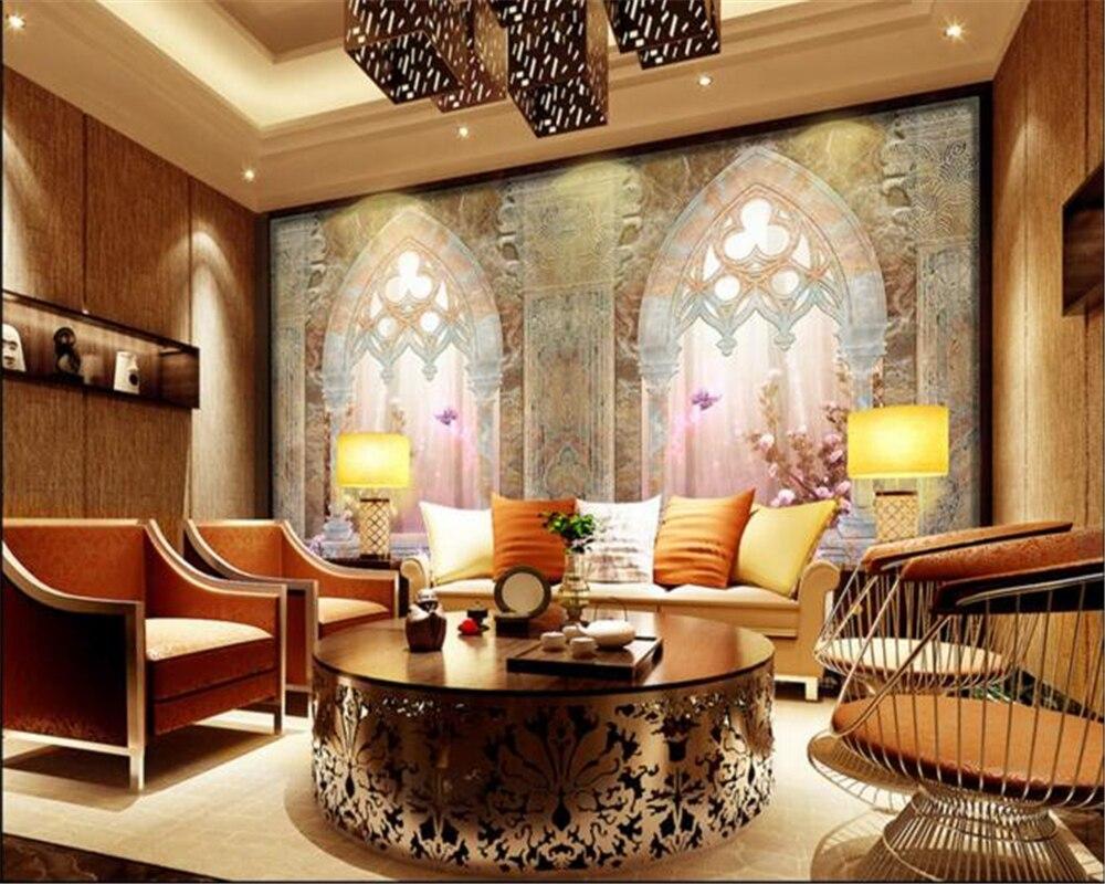 Beibehang papel de parede 3d doppeltür europäischen stil wohnzimmer lila traum tv hintergrund tapete papier peint tapety in beibehang papel de parede 3d