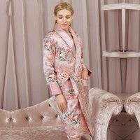 Высокое качество натурального шелка спальный халат Женская зимняя обувь утепленные натуральный шелк пижамы Для женщин мода печатных длинн