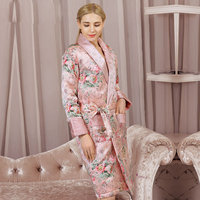 High Quality Real Silk Sleeping Robe Female Winter Thicken Natural Silk Sleepwear Women Printed Long Sleeved Bathrobes YE2028