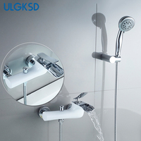 ULGKSD Bathtub Faucet Waterfall Spout Solid Brass Hot And Cold Mixer Tap Wall Mounted Bath Shower
