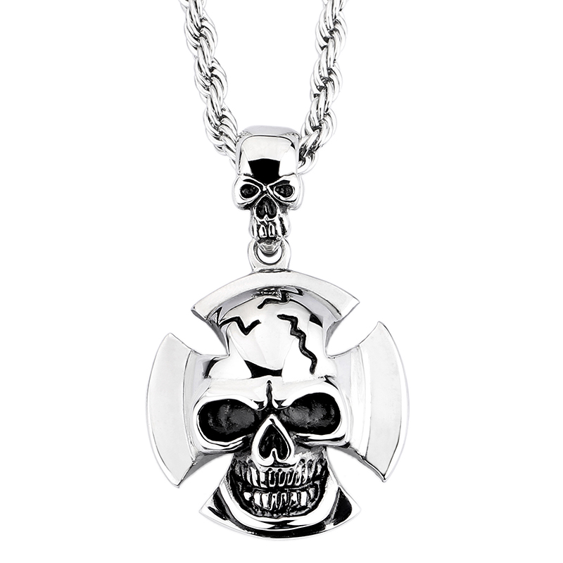 Hip Hop Punk Sweater Jewelry 316L Stainless Steel Skull Pendant Necklaces Fashion Cool Men Christmas Gifts