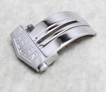 Promoción 22 mm hebilla nueva calidad superior de acero inoxidable Butterfly implementación de cierre hebilla con botón para relojes de marca hombres