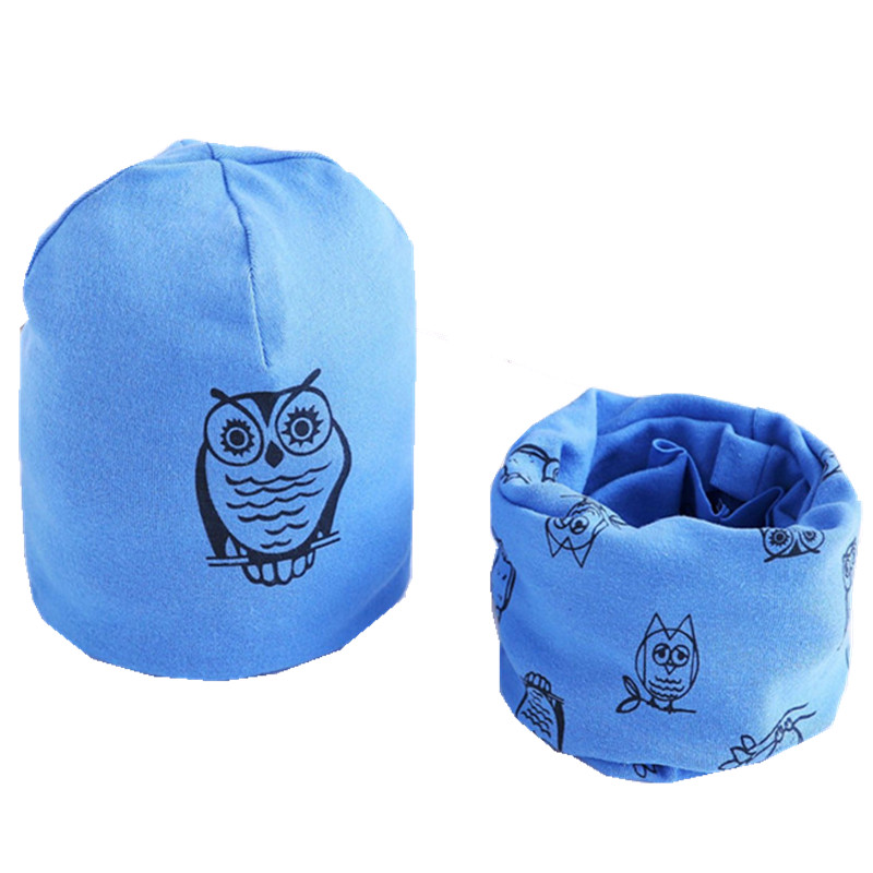 Dropwow New Spring Autumn Baby Girls hat scarf set Cartoon Owl Stars ... 6c00ec955438