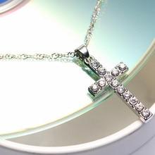 Silver Rhinestone Trendy Cross Pendant Necklace
