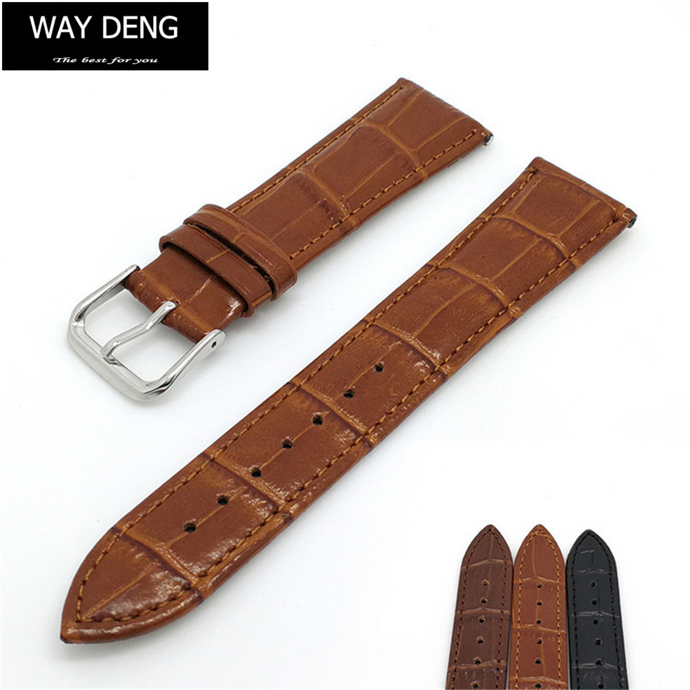цены Way Deng - Top Quality Vintage Genuine Leather Watch Band Strap Generic 18mm 20mm 22mm 24mm Silver Pin Buckle Watchband - Y101