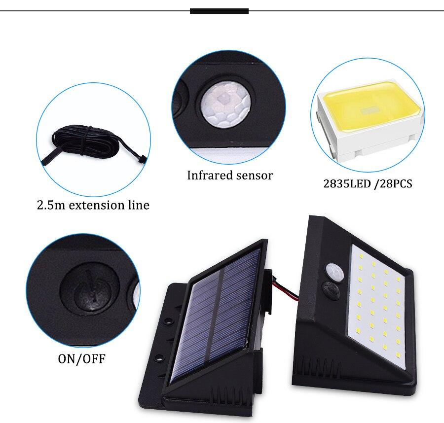 Característica de la luz LED exterior con panel solar y sensor de movimiento