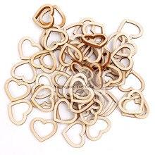1000pcs 15x13 мм из натурального дерева с открытым выбитое сердечко Конфетти украшения свадебные ремесел топперы чипы Скрапбукинг