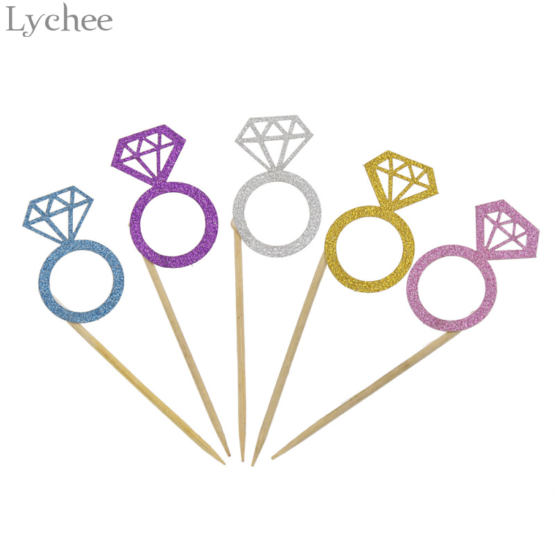 Lychee 10pcs Diamond Ring Cupcake Topper Cake Decorating Supplies Birthday Wedding Baby Shower Kids Party Decoration
