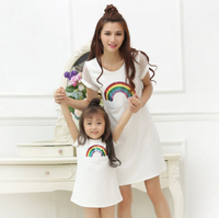 Mother Daughter Dress White Rainbow Sequins Fashion Dresses 2017 Summer Family Matching Outfits Mesh Stitching MK14