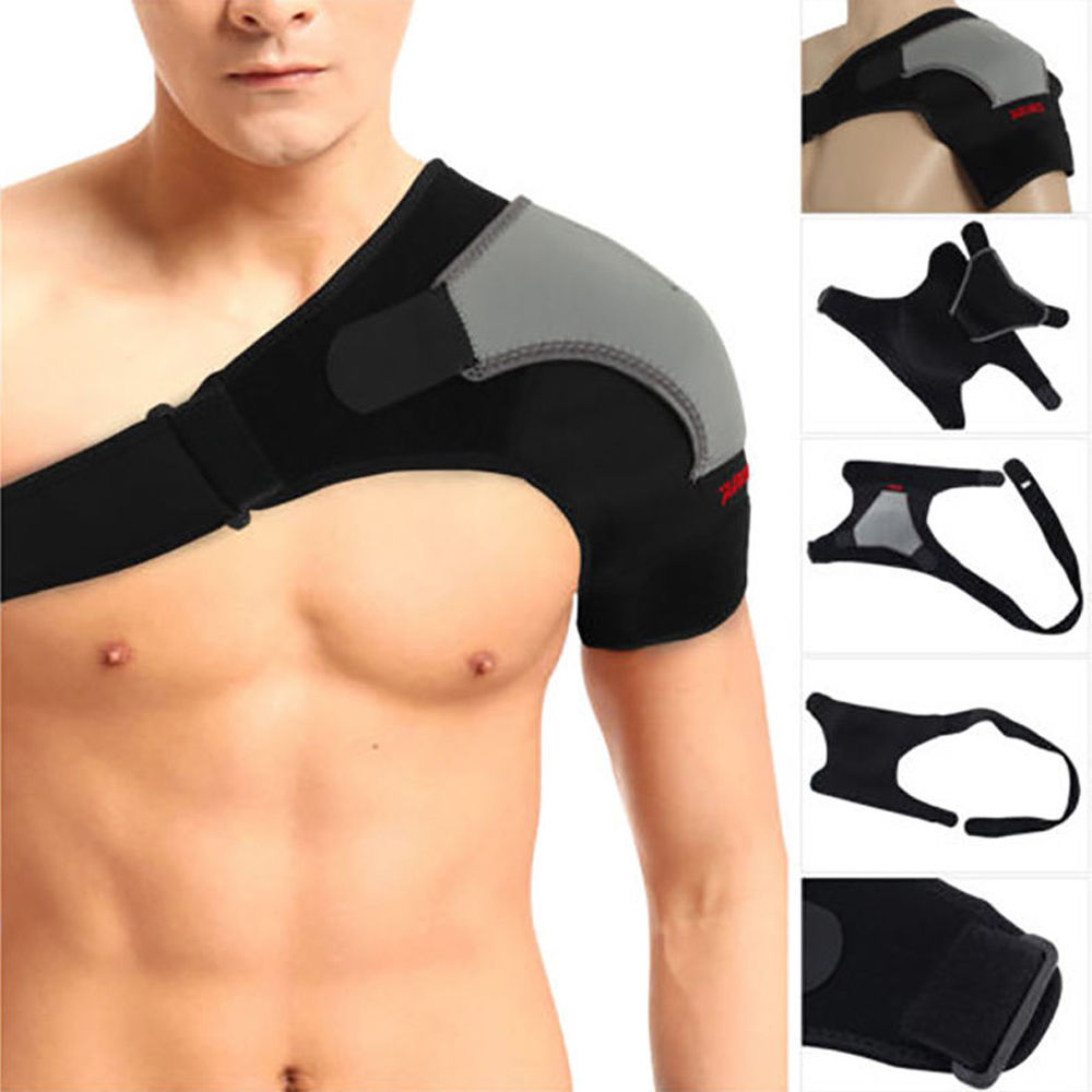 Ajustable Izquierda/hombro vendaje Protector Brace dolor lesión de hombro correa de formación de equipos deportivos Z16401