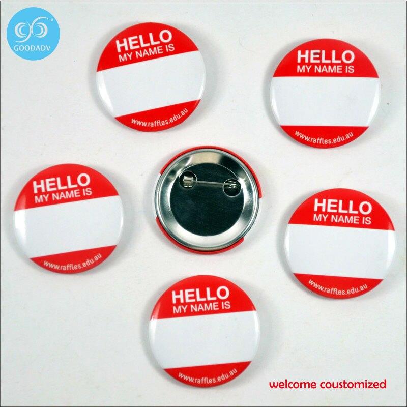free shipping high quality custom id name logo pins tinplate badge