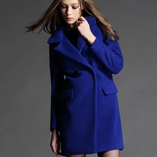 2015 Slim Winter Coat Long Wool Coats Woman Vintage Blue Coat ...