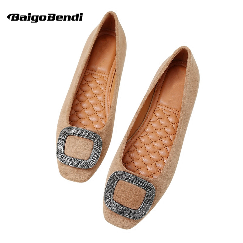Big Size Summer Women Comfort Square Toe SLIP-ON Buckle Flats Ladies Pregnant Flock Ballet Flat Shoes new 2017 spring summer women shoes pointed toe high quality brand fashion womens flats ladies plus size 41 sweet flock t179