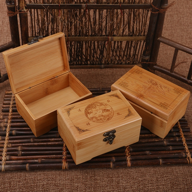 Handmade Vintage Storage Box Bamboo Wooden Jewelry Box Stud Earring