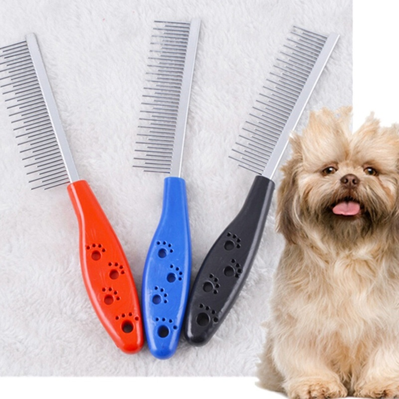 High Quality Pet Trimmer Hair Grooming Comb Flea Shedding Brush Puppy Dog Stainless Steel Grooming Brush Clean Tool
