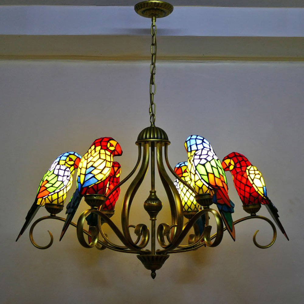 Tiffany Dining Room Glass Parrots Chandelier Lamp Restaurant Bar Counter Birds Hanging Lights Cafe House drop lights