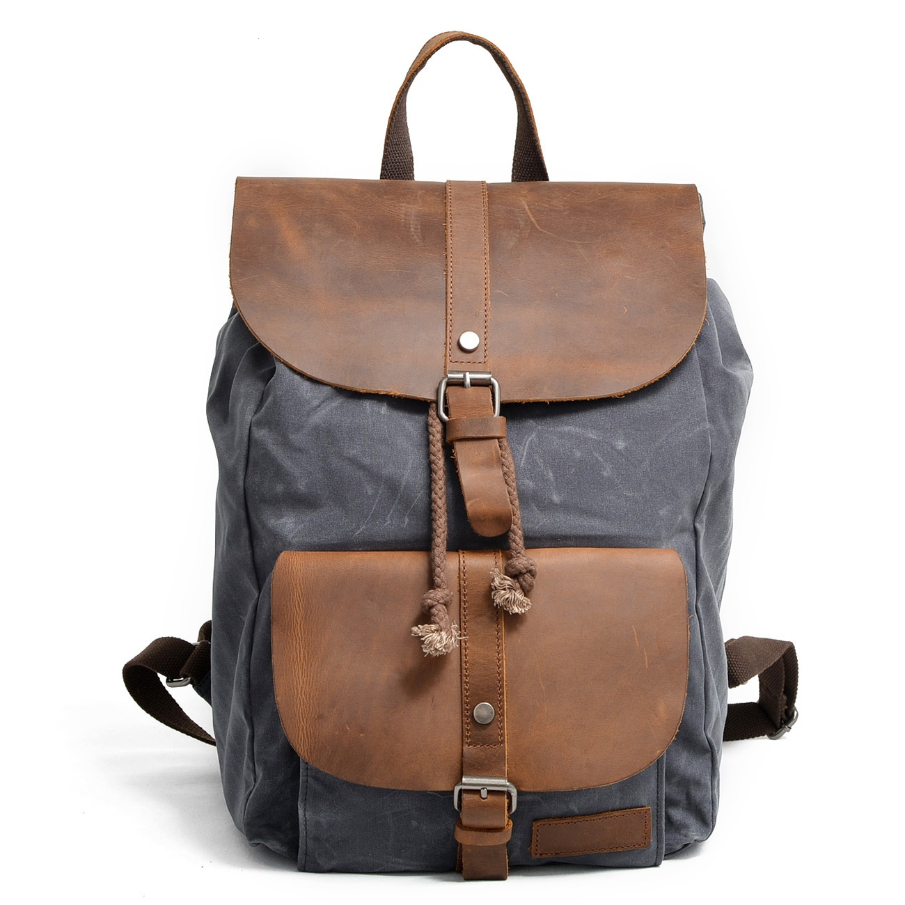 82064K New Fashion Wax Nylon Man Backpack Waterproof Leisure Crazy horse Leather Backpack
