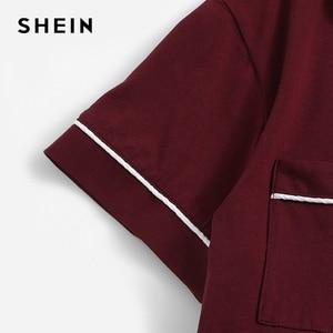 Image 4 - Shein borgonha contraste tubular bolso frente camisa e shorts pj definir feminino simples botão manga curta casual 2019 nightwear