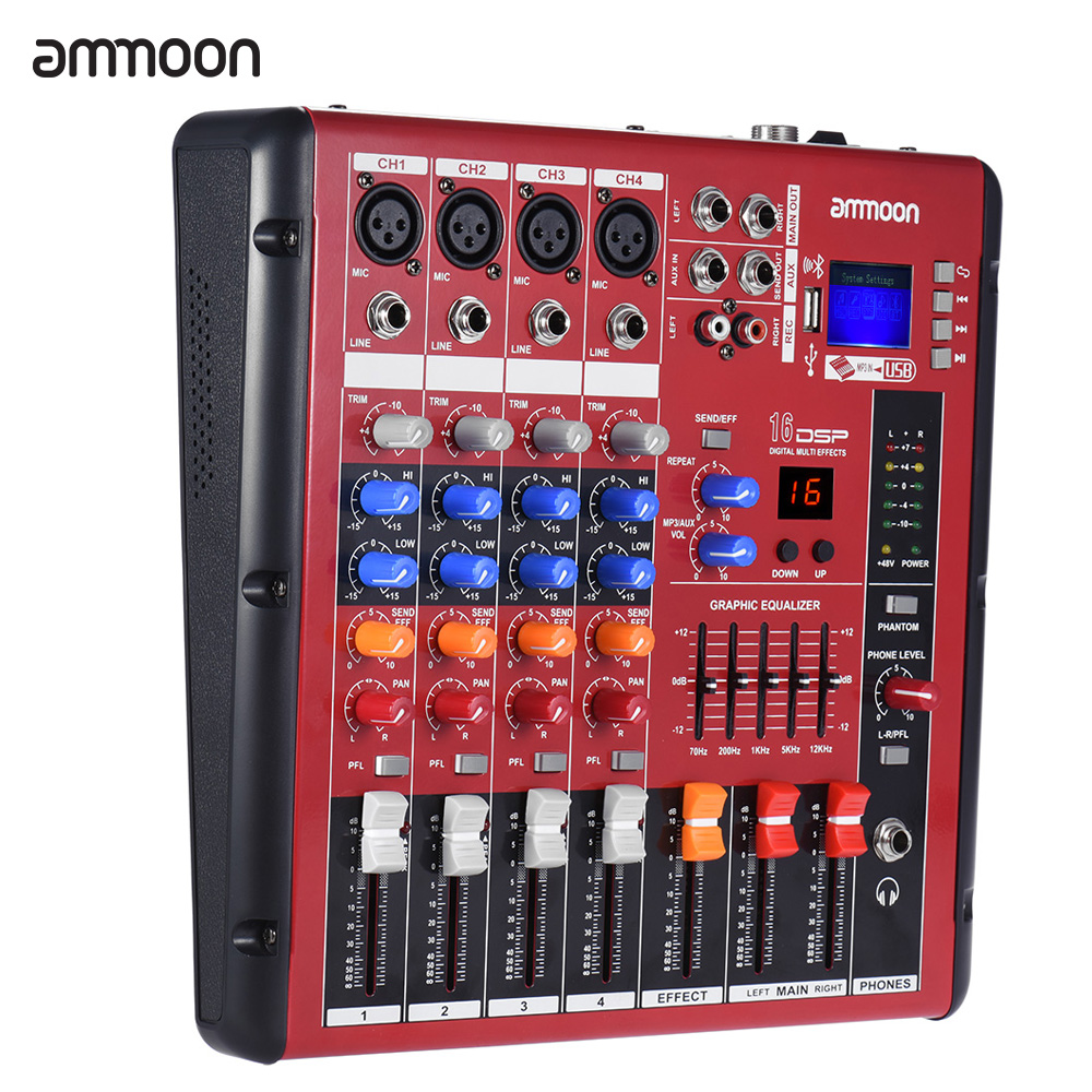 ammoon digital bluetooth 4 channel mic line audio mixer mixing console 2 band eq with 48v. Black Bedroom Furniture Sets. Home Design Ideas