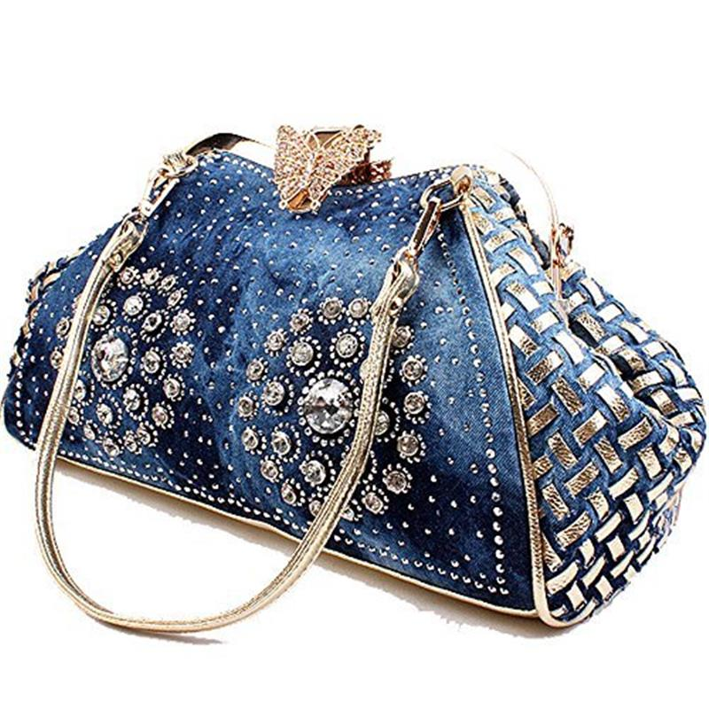 Chic Denim Fireworks Rhinestones Women Handbag Top Handle Butterfly Decoration Patchwork Ladies Shoulder Bag Clutch in Top Handle Bags from Luggage Bags