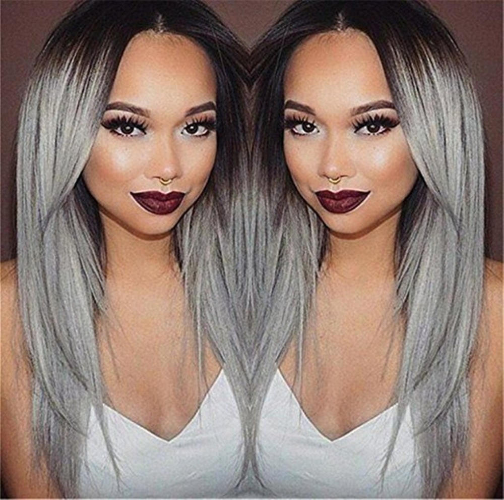 AOSIWIG Cosplay Wig Long Silver Gray Ombre Wig Stright Wig Synthetic Heat Resistant 26in ...