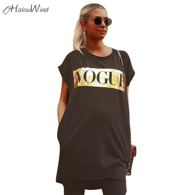 cd860ade28 Summer VOGUE O-Neck Long T-Shirt Dress Women Letter Print Dresses Short  Sleeve Casual Loose Streetwear Oversize Sundress Black