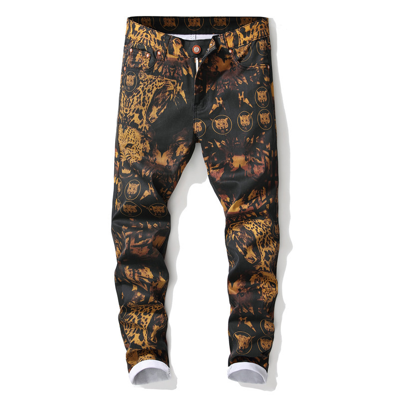 High Quality Men's Leopard Printed Jeans Trendy Colored Drawing Slim Fit Straight Denim Pants Streetwear Ripped Jeans for Men(China)