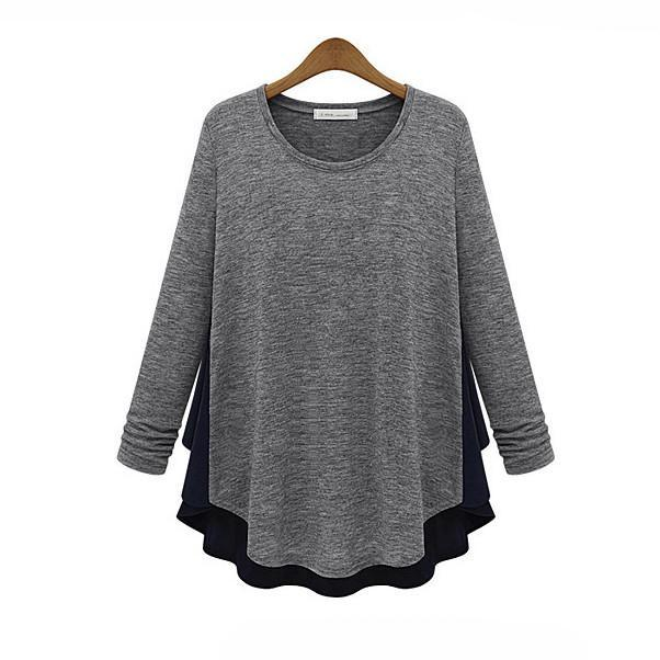 Europe Station 2016 Spring New Large Size Women's T Shirt Long Sleeve Bottoming Round Neck Women Fitness Shirt Patchwork