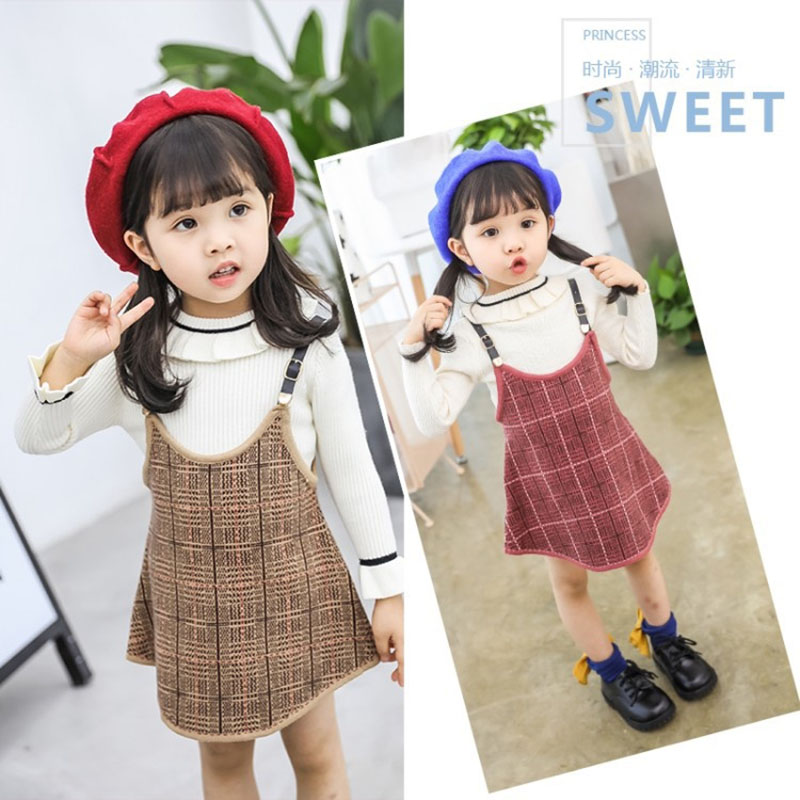 baby girl infant toddler kids plaid long sleeve fall winter dress children's set knit ruffle sweater ribbed sleeve jumper tops knit ribbed racerback tank