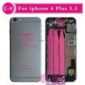 Новый высокое качество Для iphone 6 Plus 5.5 корпуса Полный ассамблея Крышка Батарейного Отсека с Шлейфом Свободной Таможенной IMEI