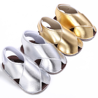 Gold Sliver Baby Leather Shoes Newborn Infants Soft Crib Shoes Sneakers First Walker Soft Soled Non-slip Footwear Crib Shoes
