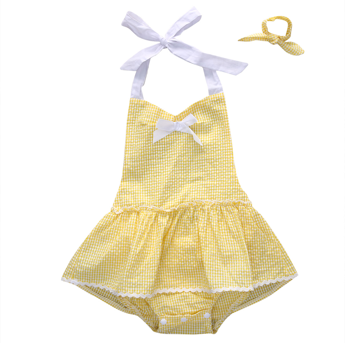 2pcs!!Infant Baby Girl Sleeveless Yellow Romper Dress Backless Bownot Outfits Sunsuit Headband Set 0-3Y baby girl 1st birthday outfits short sleeve infant clothing sets lace romper dress headband shoe toddler tutu set baby s clothes