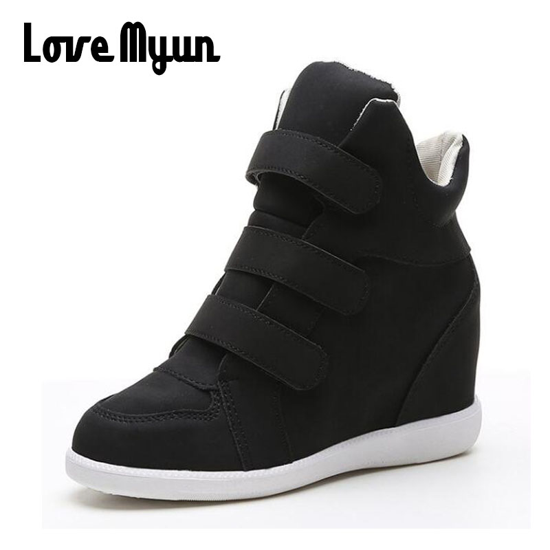 Women high top Height Increasing Shoes ALL black Woman Sneakers Casual Wedge flat Platform Shoes Breathable Ankle Boot LL-22
