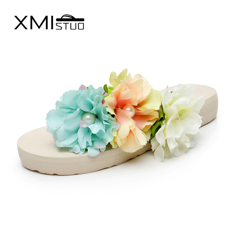 XMISTU influx of large size fashion girls flowers flip flops slope with a thick crust lovely vacation beach sandals and slippers 2016 summer korean version of the large size flip flops women slippers with a simple slippery beach sandals