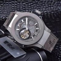 Элитный бренд новый для мужчин розовое золото серый кожа Автоматические Механические Сапфир Tourbillion часы Прозрачный Стекло водонепроница