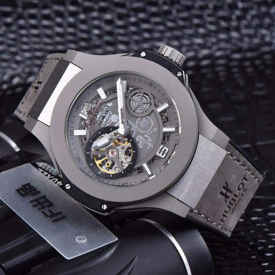 Nouveaux hommes de luxe en cuir gris or Rose automatique mécanique saphir Tourbillion montres verre Transparent étanche noir
